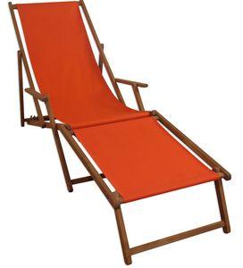 Gartenliege terracotta Sonnenliege Liegestuhl Fußteil Holz Deckchair Strandstuhl Gartenmöbel 10-309 F