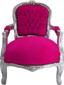 Casa Padrino Barock Kinder Stuhl Pink/Silber - Armlehnstuhl