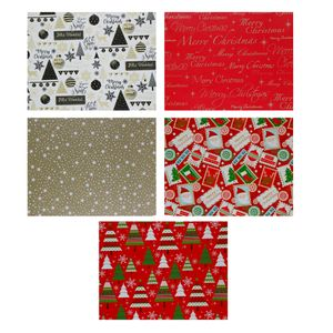 5 Rollen Geschenkpapier für Weihnachten mit jeweils 2 x 0,7 m ( Gesamt 10 lfd Meter) Geschenkverpackung Weihnachten