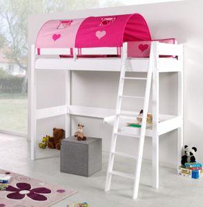 Hochbett RENATE Multifunktionsbett mit Schreibtisch Bett Weiß Stoffset Pink/Herz