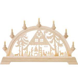 Taulin Schwibbogen mit 7 Kerzen 55 x 36 cm, Ausführung:Waldhaus
