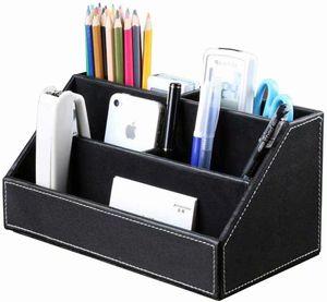 Holzstruktur Leder Multifunktionale Schreibtisch Organisator (Schwarz)