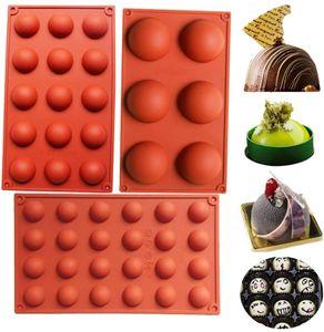 3er Set Halbkugeln Silikonform 6/15/24 Löcher Halbkreis Silikonform  Set Silikon Backform für Schokolade, Cupcakes, Kuchen, Muffinform für Kuchen Brown