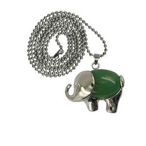 Heilung Chakra Aventurin Edelstein Elefant Anhänger Halskette Langkettiger