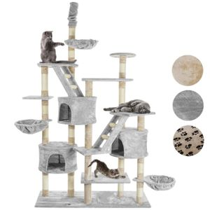 happypet® Kratzbaum für Katzen deckenhoch höhenverstellbar 230 - 260cm cm hoch, CAT013-3 großer Kletterbaum Katzenbaum, stabile Säulen mit Sisal ca. 8cm, Häuser, Liegemulden, Treppen, GRAU