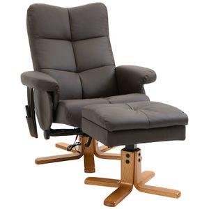 HOMCOM Massagesessel mit Fußhocker Relaxsessel Fernsehsessel  TV Sessel 145°-Neigung Kunstleder Braun 80 x 86 x 99 cm