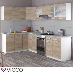 Vicco Küche Rick Eck / Winkel Küchenzeile Küchenblock Einbauküche 270 cm Sonoma
