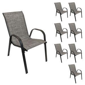 Wohaga® 8er Set Stapelstuhl 'New York' mit Textilenbespannung Schwarz/Silbergrau meliert