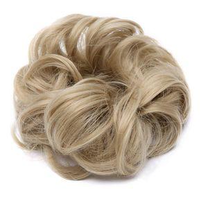 Hair Extensions Haarteil Haargummi Hochsteckfrisuren unordentlicher Ponytail Dutt Gewellt VOLUMINÖS Haarverlängerung Aschblond