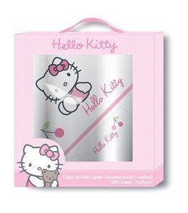 Hello Kitty Geschenkbox Baby Badeponcho und Waschhandschuh Badetuch Poncho