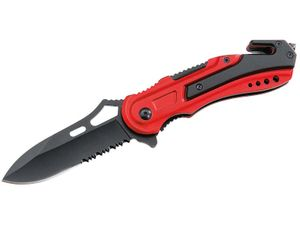ATK-Rettungsmesser, Stahl AISI 440, titan beschichtet,, Liner Lock, Aluminium-Griffschalen, Gurtschneider, Dorn