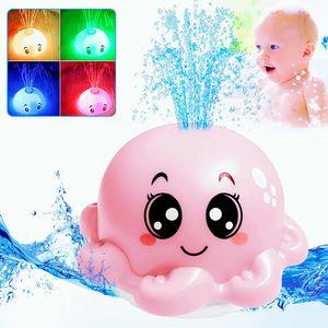 Badespielzeug Kinder, Induktionswassersprüh Krakeform Baby Wasserspielzeug mit 3 Farbe Licht und Musik Schwimmende Badespielzeug für Baby Kinder (Rosa)