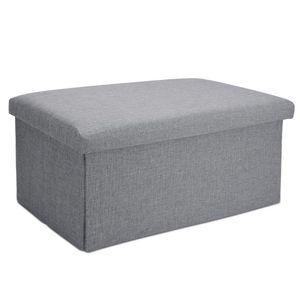 Faltbare Sitzbank 78x38x38 cm Sitzwürfel mit Stauraum und Deckel - Stoff in Leinen Optik ALASKA GRAU