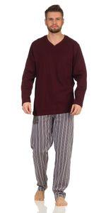 Langer Herren Schlafanzug , Farbe:Bordeaux, Gr. :L - 52