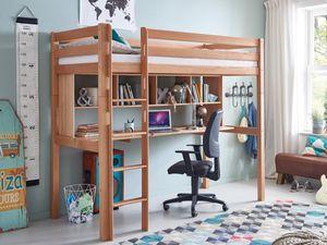 Hochbett + Schreibtisch + Regal Toli Natur 90x200cm Kinderbett mit Rollrost