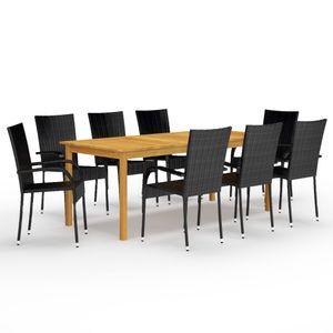 Gartenmöbel Essgruppe 8 Personen ,9-TLG. Terrassenmöbel Balkonset Sitzgruppe: Tisch mit 8 Stühle Schwarz❀2101