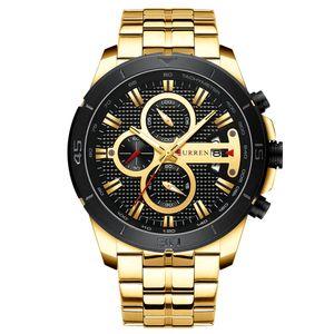 CURREN 8337 Man Quarzuhr Wasserdicht Outdoor Minute Hour Chronograph Kalender Dial Alloy Band Maennliche Armbanduhr