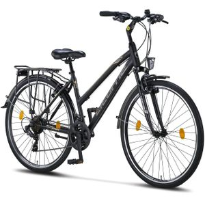 Licorne Bike L-V-ATB  Premium Trekking Bike in 28 Zoll - Fahrrad für Herren, Jungen, Mädchen und Damen - Shimano 21 Gang-Schaltung - Citybike - Männerfahrrad , Farbe: Schwarz/Grau, Zoll:28.00
