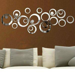 24 Kreise DIA Spiegel Sticker Wandaufkleber Wandtattoo Wandsticker Selbstklebend