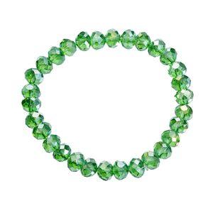 Melady Perlenarmband 30beads*8mm Grün Glas Rund Perlen Armband Damen Armbänder Damenschmuck