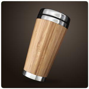 Coffee to go Becher aus Edelstahl in edlem Design umweltfreundlich stylischer Bambus Kaffeebecher 450 ml doppelwandig