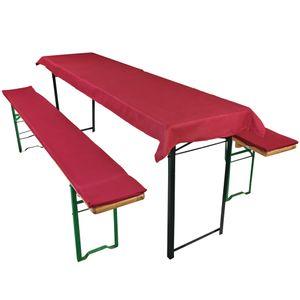 Bierbankauflagen Set Dunkelrot - Tischdecke für 70cm Tisch und 2 gepolsterten Bankauflagen 220x25cm - Auflagen Set für alle gängigen Bierzeltgarnituren