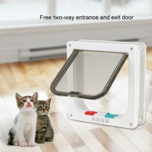 Katzenklappe Katzentür mit Tunnel 4 Wege Hundeklappe Haustierklappe 20 x 19 cm