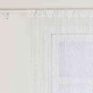 2er Pack Fadenvorhang 100x200cm Weiß Vorhang Perlenvorhang Türvorhang Quaste Gardine Balkon Insektenvorhang