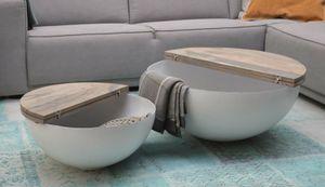 DESIGN Couchtisch Mangoholz Sophie metall rund Beistelltisch Halbkugel 80x35cm