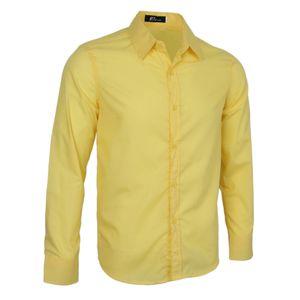 Herren Classic Slim Fit Oberhemd Business Smart Casual Work Solid Shirt Top Gelb 2XL Smokinghemd Hemd Solide