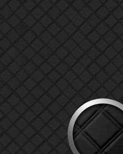 Dekorpaneel Karo Leder 3D WallFace 15030 ROMBO Blickfang Einrichtungs selbstklebende Tapete Verkleidung schwarz 2,60 qm