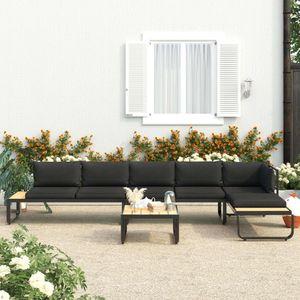 dereoir 4-tlg. Garten-Ecksofa-Set mit Auflagen Aluminium und WPC