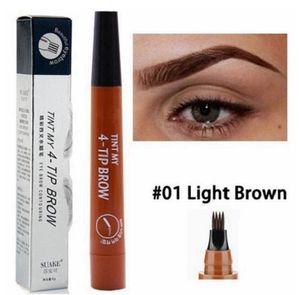 Augenbrauenstift Tattoo Stift 4 Köpfe (!) Microblading Gabelspitze Farbe LIGHT BROWN