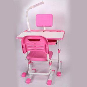 Kinderschreibtisch mit Stuhl Rosa Schublade Schülerschreibtisch Höhenverstellbar Schreibtisch für Kinder und Schüler höhenverstellbar mit LED Lampe