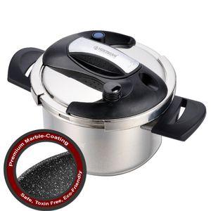 Herzberg HG-PS4M: 4L Edelstahl-Schnellkochtopf mit Marmorbeschichtung