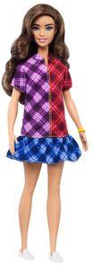 Barbie Fashionistas Puppe, mit langem braunen Haar, Kleid mit Colorblock-Karomuster und Accessoires