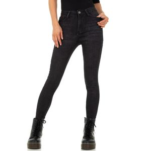 Ital-Design Damen Jeans High Waist Jeans Schwarz Gr.34
