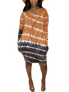 Langärmliges, gestreiftes Hemdkleid mit Farbverlauf und Farbverlauf für Damen Hosenträgerrock,Farbe: Orange,Größe:M