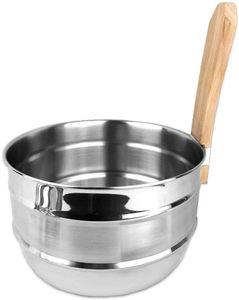 SudoreWell® Saunakübel Saunaeimer 5 Liter aus Edelstahl mit Griff aus Buchenholz by Lumo