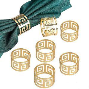 6 Stück Serviettenringe Servietten Halter Banquet Serviette Ring Dinner Hochzeits Weihnachten Dekoration Tischdeko (Gold)