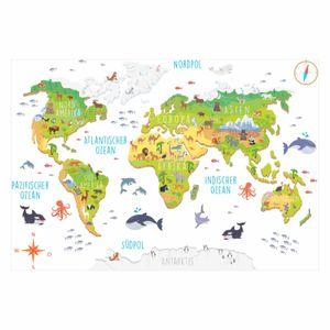 174 Wandtattoo Weltkarte mit Tieren 3D - Kinderzimmer Wanddeko : Größe - 1800 x 1240 mm Größe: 1800 x 1240 mm
