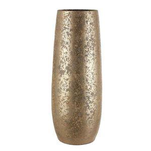Vase Clemente rund Terrakotta gold handgemacht - H 55 x D 21,5 cm - Dekovase - Bodenvase