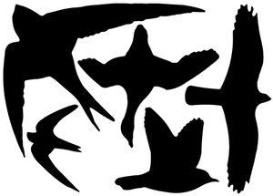 3 Stück Esschert Design Fenstersticker, Vogelaufkleber, 1 Bogen mit 5 Aufklebern in schwarz