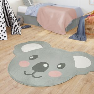 Teppich Kinderzimmer Kinderteppich Babymatte Jungs Mädchen Moderne Koala Bär Form, Farbe:Grau, Größe:110x150he cm