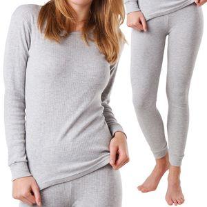 MT® Damen Thermo Unterwäsche Set - warm, weich und atmungsaktiv - Sports Grey-M