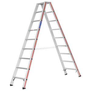 Hymer 8024 Stufenstehleiter beidseitig begehbar 2x9 Stufen