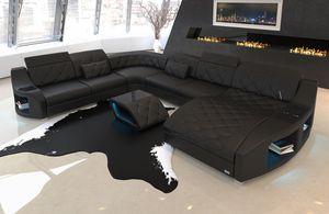Wohnlandschaft Swing XXL, Farben:schwarz, Material:Kunstleder Premium, Sofa Ausrichtung Ottomane:Rechts - vor dem Sofa stehend, Bettfunktion:mit Bettfunktion