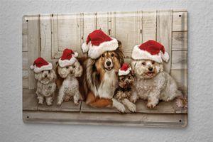 Blechschild Tierheim Hunde Nikolausmützen