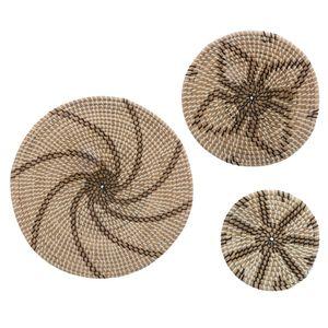 Wanddekoration aus Seegras, 3 braune Teller