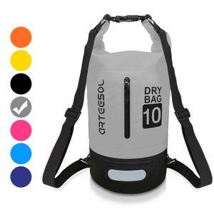 arteesol Dry Bag 10L Wasserdicht seesäcke Tasche Seesack Rollbeutel Packsack für Kajakfahren Rafting Camping, Grau